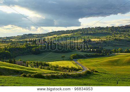 Countryside, green hills , Tuscany, Italy