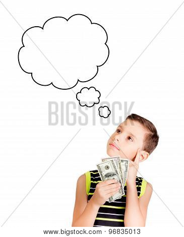 Young boy looking up and dreaming what to buy with his money