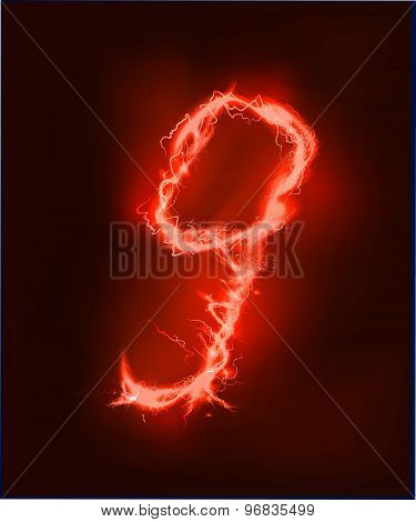 Numbers made of red electric lighting, thunder storm effect. ABC