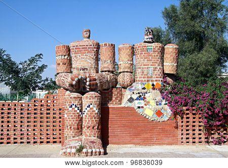 Urban Sculpture Is Made Of Bricks