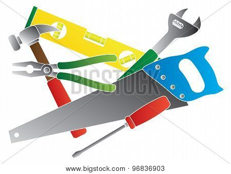 Construction Tools Colors Vector Illustration
