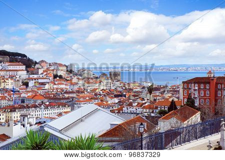 Lisbon City Spring Skyline From Park Gloria Viewpoint