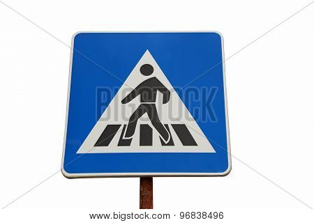 Blue Pedestrian Crossing Sign