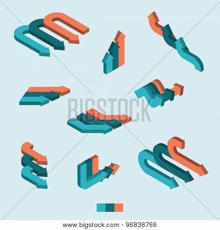 Set of isometric arrows. Blue and orange 3d arrows for infographics.