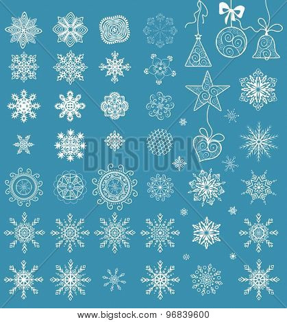 Collection of paper snowflakes for winter holiday