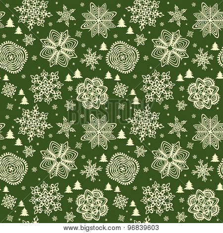 Green winter wallpaper with golden snowflakes