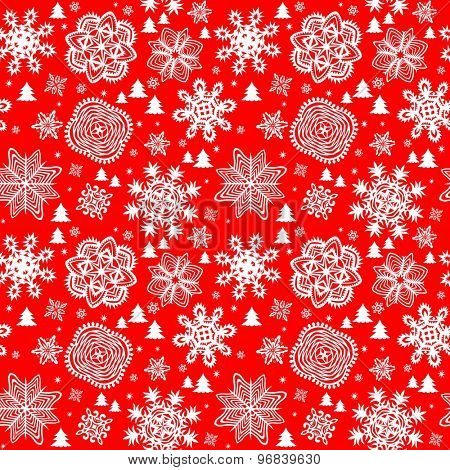 Winter red background with paper snowflakes and firs