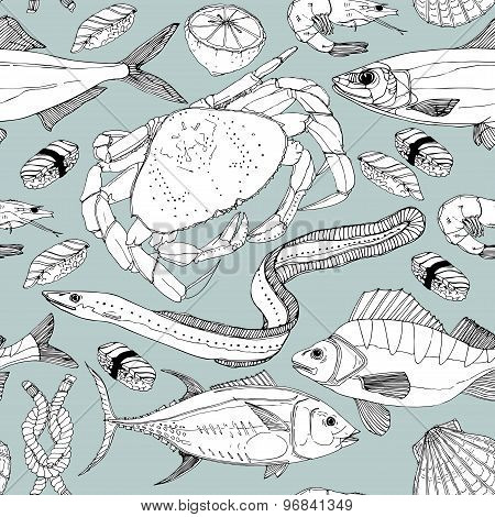 Sea life doodle in lines.