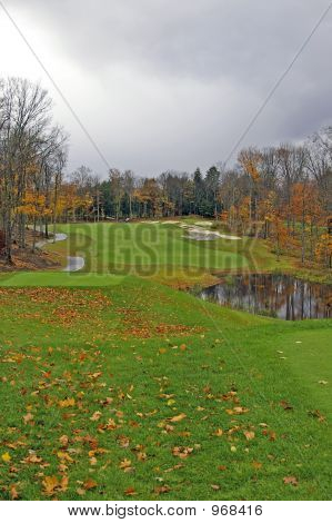 Golf Course On A Stormy Fall Day