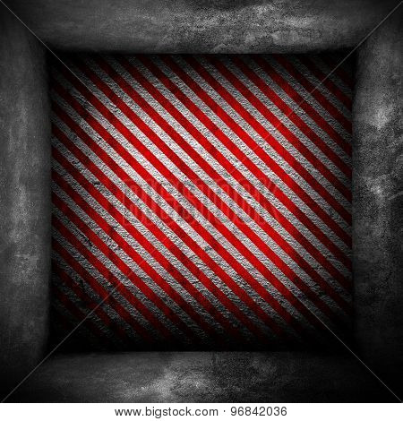 concrete wall with red stripes