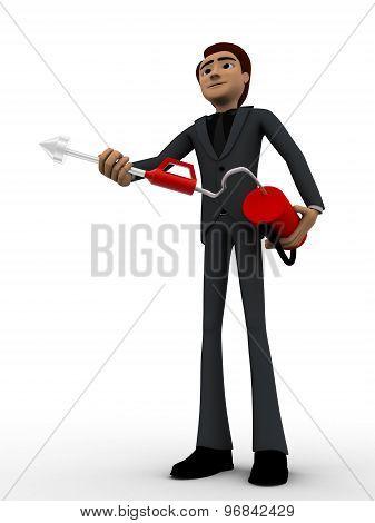 3D Man With Fire Extinguish Concept