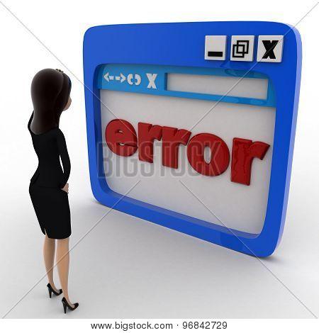 3D Woman Found Errow On Window Concept