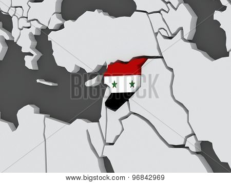 Map of worlds. Syria. 3d