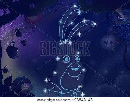 Kids Book Illustration. Rabbit Constellation.