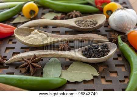 Close Up Of Veggies And Spices.