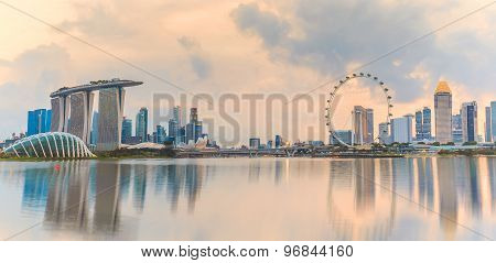 Panorama View Of Singapore Skyline In The Morning