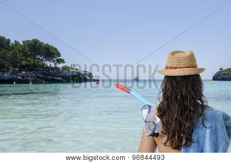 Girl Back With Towel, Snorke, And Hat.