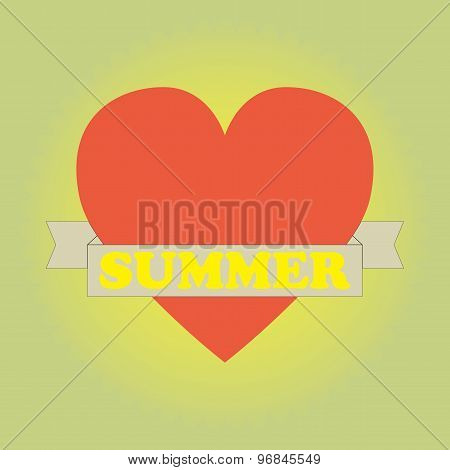Heart With Banner Summer.