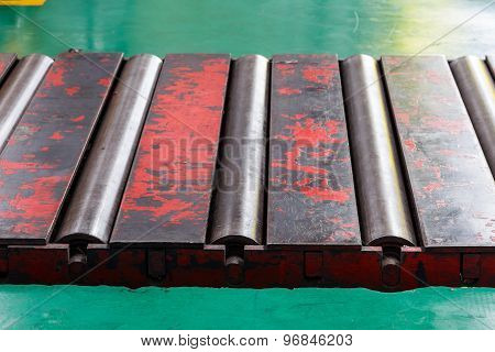 Close Up Rollers Conveyor