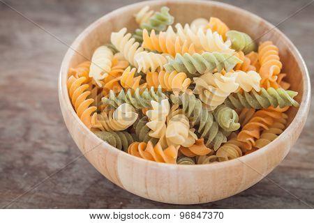 Fusili Pasta In Wooden Plate