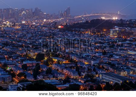 San Francisco Cityscape Panorama With View Of The Financial District, And Bay Bridge