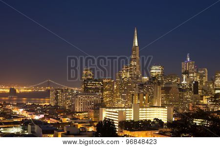 San Francisco Cityscape Panorama At Night