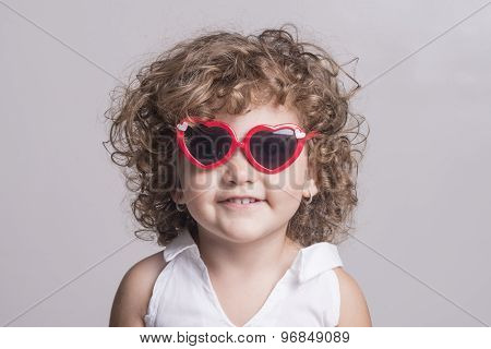 Isolated Child With Red Sun Glasses