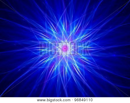 Glowing Blue Star Fractal