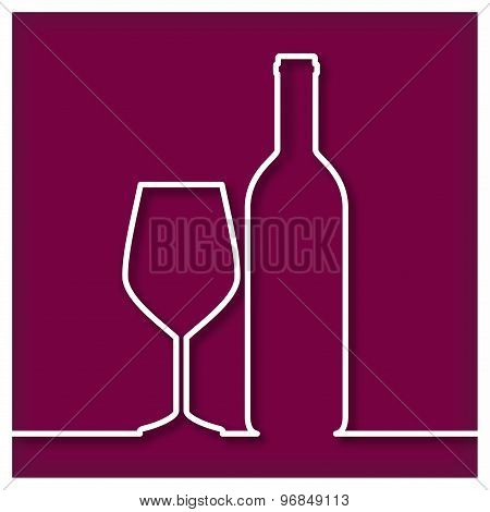 Bottle of red  Wine and Glass Icon