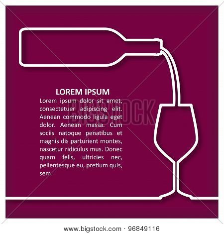 Bottle of red  Wine and Glass Template