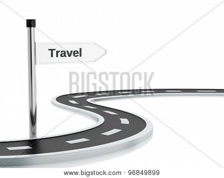 3D Illustration Of Travel Road Sign And Road