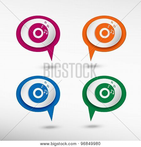 Music Disc on colorful chat speech bubbles