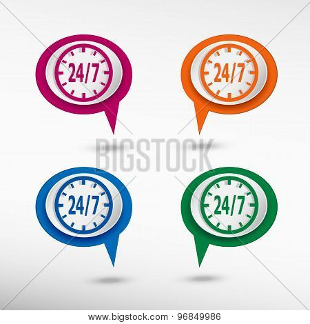 24 hours service sign on colorful chat speech bubbles