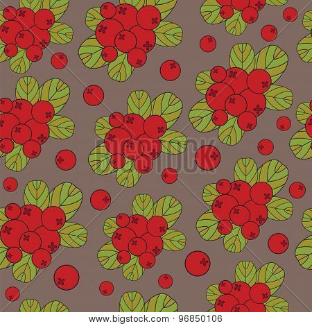Stylized Cranberries On A Brown Background