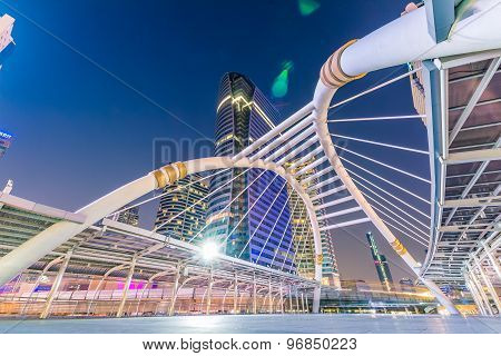 Bangkok City - Public Skywalk In Business Area