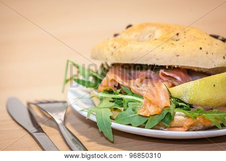 Smoked salmon bun close up
