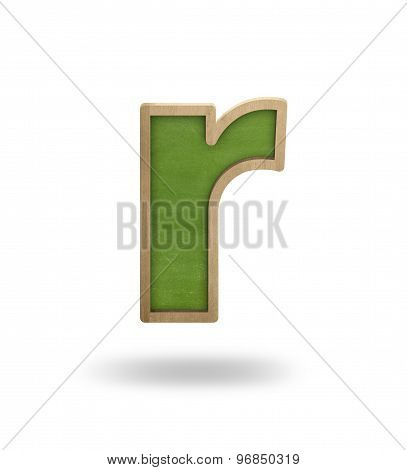 Green blank letter r shape blackboard