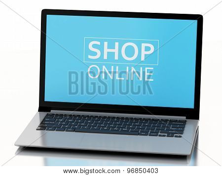 3D Laptop. E-commerce  Concept