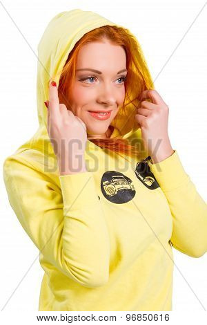 Red-haired Girl In A Yellow Jacket