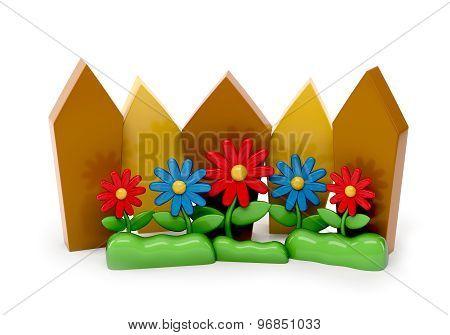 3D Cartoon Fence With Garden Flowers