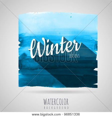 Watercolor Abstract Background. Seasons. Winter
