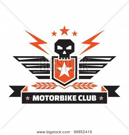 Motorbike club - vintage badge - skull, shield, wings, lightings, ears, stars, ribbon.