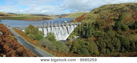 Craig Goch Reservoir Panorama, Elan Valley, Wales.