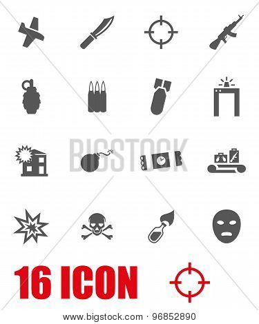 Vector Grey Terrorism Icon Set