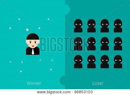 The Winner Will Have Less Than Losers Person With Business Concept. Vector Illustration.