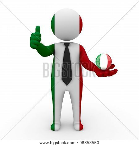 3d businessman people Italy- in the hands of the spherical icon of Italy