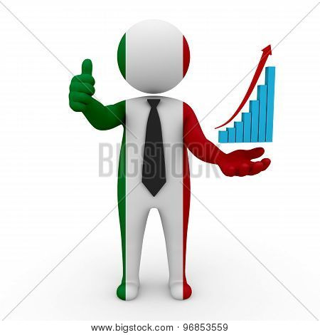 Businessman symbol of Italy and in hand graph up