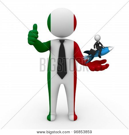 3d businessman people Italy - with a missile in the hands and grow your business