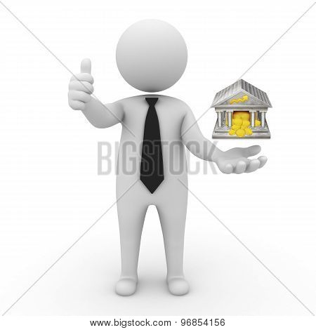 3d businessman people - with the bank in his hands and FINAS and rating