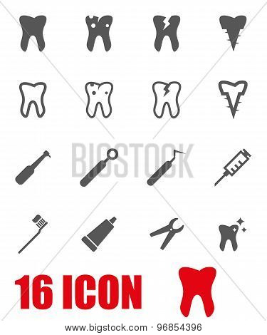 Vector Grey Dental Icon Set